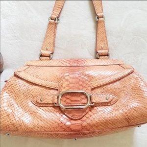 orange snakeskin purse